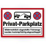 Komma Security Privat-Parkplatz - Parkverbot 30 x 20 cm Hinweisschild Verbotsschild Parkplatzschild - Warnung widerrechtlich abgestellte Autos Fahrzeuge - Parkplatz Freihalten