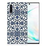 B2Ctelecom Handyhülle Silikon für Samsung Galaxy Note 10 Soft Silikon Schutzhülle Case Cover Blumen-Blau