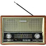 Angelay-Tian Vintage Radio FM Radio mit altmodischem klassischem Stil, Starke Bassverbesserung, U-Festplatte / MP3-Player Multifunktionale 4-Band-Radio tragbar