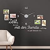 KLEBEHELD® Wandtattoo Uhr Familienzeit Fotorahmen und Spruch für Wohnzimmer und Wohnbereich Farbe schwarz, Größe 120x69cm ( B x H ) | Uhr schwarz | Umlauf 44