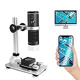 Cainda WiFi Digitalmikroskop für iPhone Android Phone Mac Windows HD 1080P Videoaufzeichnung 50-1000-fache Vergrößerung Drahtloses tragbares Mikroskop mit verstellbarem Metallständer und Trag