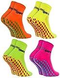 Rainbow Socks - Damen Herren Neon Sneaker Sport Stoppersocken - 4 Paar - Orange Grün Gelb Rosa - Größen 36-38