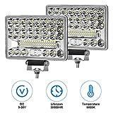 LED Arbeitsscheinwerfer, 5'144W 6000K Offroad LED Leuchten Offroad Zusatzscheinwerfer IP67 48LED für Auto / Motorrad / Offroad / LKW / Gabelstapler / Boot (2 Stück)