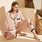 STJDM Pyjama,Pyjamas Women Autumn New Langarm Zweiteiler Set Pure Colour Stitching Lace Cardigan Einfache Damenanzug Kleidung für Zuhause M Pink