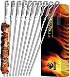 Mountain Grillers - Grillspieße, Schaschlikspieße aus Edelstahl (x 10 Stück) - Lange Spieße für Fleisch, Gemüse, Stockbrot zum Grillen - Grillzubehör