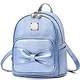Mini Rucksack Geldbörse für Frauen Teenager Mädchen Schleife Mode Rucksack Niedlich Leder Rucksack, Blau (leuchtendes Blau), Small