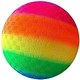 1 Stück 9-Zoll-Regenbogen-Spielplatzbälle Aufblasbare Völkerbälle für Kinder Erwachsene Innen- und Außen Strand Pool-Spiele