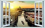 City Skyline Berlin Fluss Stadt Wandtattoo Wandsticker Wandaufkleber F1417 Größe 70 cm x 110 cm