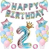 Luftballon 2. Geburtstag Deko Mädchen, Geburtstagsdeko 2 Jahr Rosa Mädchen, Folienballon Zahl 2, Happy Birthday Folienballon Banner