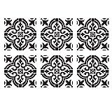 Suading 6 StüCk DIY Malerei 30X30Cm Vintage Blumen Muster Schablonen Vorlage für Fliesen Wand Boden MMBel Malerei Dekorativ