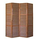 Homestyle4u 874, XL Paravent Raumteiler 4 teilig, Bambus Holz, Braun, Höhe 2 m