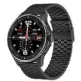 QFSLR Smartwatch, Fitnessuhr Mit Bluetooth Telefonie Blutdruckmessung Blutsauerstoffsättigung Herzfrequenz Sportuhr Schrittzähler Musiksteuerung Android Ios,Black e