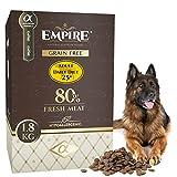 Empire Erwachsene Hunde Trockenfutter - 1,8kg - Hundefutter Trocken Getreidefrei - Große Rassen - 80% Frisches Wildfleisch und lammfleisch - Hypoallergen - Glutenfrei - 100% Natürlich