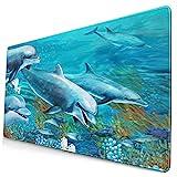 Nettes Mauspad ,Die Unterwasser-Delfin-Korallenriff-Zeichnung für,Rechteckiges rutschfestes Gummi-Mauspad für den Desktop, Gamer-Schreibtischmatte, 15,8 'x 29,5'