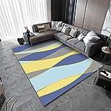 Teppiche dekoartikel Wohnzimmer Blauer gelber Grauer Wellen geometrischer Entwurf dauerhafter Teppich für Wohnzimmer tischkamin Teppich Carpet Bedroom 180*250