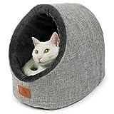 SCHLITZOHR Katzenhöhle Oskar   waschbare Premium Kuschelhöhle für Katzen & Hunde in edlem grau   inklusive extra gemütlichem Wendekissen