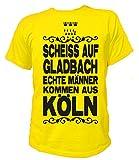 Artdiktat Herren T-Shirt Scheiß auf Gladbach - Echte Männer kommen aus Köln Größe XXL, gelb