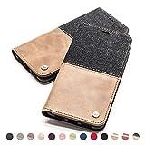 QIOTTI Hülle Kompatibel mit Huawei P40 Ledertasche aus Hochwertigem Leder RFID NFC Schutz mit Kartenfach Standfunktion in Denim Brown