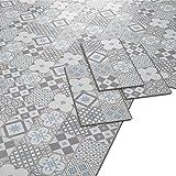 ARTENS - PVC Bodenbelag - Click Vinylboden- Zementfliesen Muster - Blau-grau/Weiß - 1,49m²/8 Fliesen
