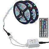 10M LED Strip, 3528 RGB USB LED Lichtband, Dimmbar Selbstklebend Lichtleiste, 44 Tasten Fernbedienung Mit Speicherfunktion, Dimmbar, für Spiegel Deko Party Küche (10M-Wasserdicht)