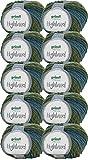 500g Wollpaket Gründl Highland, Wolle Paket 10 x 50g Farbe 04, Schnellstrickwolle mit Farbverlauf, zum Stricken oder Häkeln
