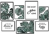 KAIRNE 7er Set Premium Poster,Poster Set Wohnzimmer,Grüne Pflanzen Bild,Inspirierende Zitate Wandbild,Moderne Grüne Blätter Bilder Leinwand für Schlafzimmer Wanddeko,3 x DINA3 + 4 x DIN A4,Ohne Rahmen