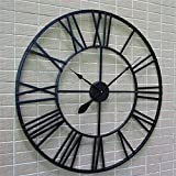 Wanduhr, Wall Clocks 80 cm Haushalt Wanduhren Moderne 3D Große Retro Schwarz Eisen Kunst Hohl Wanduhr Römischen Ziffern Wohnk