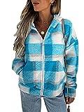 DELIMALI Damen Sweatshirt, kariert, mit Reißverschluss, langärmelig, lässig, Farbblock-Mantel mit Taschen, Streetwear, blau, 46