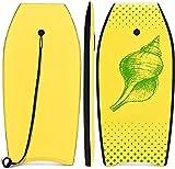 RELAX4LIFE Schwimmbrett tragbar, Schwimmboard mit Halteleine, Rutschfestes Surfbrett für Kinder & Erwachsene, Surfboard bis 85 kg belastbar, Bodyboard Shortboard, 104x5 x6 cm, XPE HDPE (Zitronengelb)