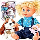 MalPlay Funktionspuppe 32cm mit Hund | Babypuppe mit Langen Haaren zum Stylen | schließt die Augen, singt | | 7-teiliges Set | Puppe mit Zubehörset ab 3 Jahren