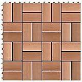 HUANGDANSP Terrassenfliesen 11 Stück WPC 30 x 30 cm 1 qm BraunHeimwerkerbedarf Baumaterialien Fußböden Teppichböden