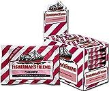 Fisherman's Friend Cherry   Karton mit 24 Beuteln   Kirsche und Menthol Geschmack   Zuckerfrei für frischen Atem
