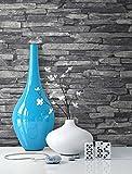Steintapete Vlies Grau Schwarz | schöne edle Tapete im Steinmauer Design | moderne 3D Optik für Wohnzimmer, Schlafzimmer oder Küche inkl. der NewroomTapezier-Profibroschüre mit Tipps für perfekteWände