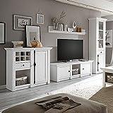 Wohnwand Set Landhaus-Stil Pinie weiß Nb. inkl. LED, Vitrine, Highboard, Lowboard, Wandregal