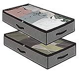 Dafooda 2 x atmungsaktive robuste Unterbettkommode, 100 x 50 x 18 cm (90 Liter) + Baumwollbeutel, platzsparende Aufbewahrung unter dem Bett, Organizer für Auto Dachbox