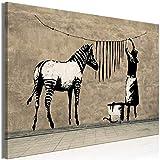 murando - Bilder Banksy Washing Zebra Stripes 90x60 cm Leinwandbild 1 TLG Kunstdruck modern Wandbilder XXL Wanddekoration Design Wand Bild - Graffiti Street Art Tiere Straßenkunst i-C-0151-b-a