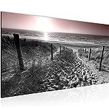 Wandbilder Strand Meer Sonnenuntergang Vlies Leinwand Wohnzimmer Schlafzimmer Flur Grau Rosa 018412b