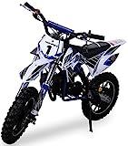 Kinder Mini Crossbike Gazelle 49 cc 2-takt inklusive Tuning Kupplung 15mm Vergaser Easy Pull Start verstärkte Gabel Dirt Bike Dirtbike Pocket Cross (Blau)