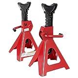 Arebos 2x Unterstellbock | 3000 kg Traglast | Hub 275-400 mm | 10-fach höhenverstellbar | Stahl/Gusseisen|