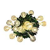 YLUP Rattan Lichterkette Solar Warmweiß, Außen Lichterketten Solar Lampions Wasserdicht Weihnachtsbeleuchtung für Gärten Häuser Outdoor Grünes Blattblasenballlicht