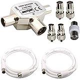RUNCCI-YUN Koaxial verteiler 2-Fach,Antennen Verteiler, BK Verteiler 0-1000 MHz für DVB-T/BK,T-Adapter Verteiler für Kabelfernsehen+5 xTV-Antennen-Koaxialstecker+2pcs Antennen Verteiler Kabel