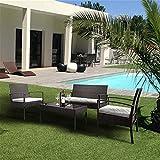 HTTIB Gartenmöbel-Set, wasserdicht, Rattan, 4-teilig, Rattan, Bistro-Set, 2 Sessel, 1 Doppelsitz-Sofa und 1 Couchtisch aus gehärtetem Glas (Farbe: schwarz)