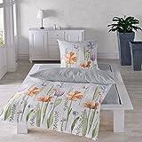 Traumschlaf Seersucker Bettwäsche Set • Aus 100% Baumwolle In Feinem Floralen Aquarell Blumen Muster • 135x200 cm + 80x80 cm