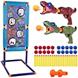 SUPYINI Childrens Dinosaur Shooting Set, 2 Foam Blow Guns, Standing Shooting Target, 20 Foam Balls and Replacement Bullets, Compatible with Nerf Toy Guns