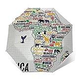 Regenschirm Taschenschirm Kompakter Falt-Regenschirm, Winddichter, Auf-Zu-Automatik, Verstärktes Dach, Ergonomischer Griff, Schirm-Tasche, Zitat 530