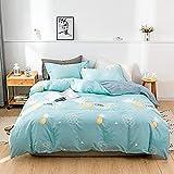 4-teiliges Bettlaken-Set Blauer Ananas-Druck,Einzelbettlaken-Set, Bettlaken und Kissenbezug 4-teilig