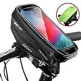 Faneam Handytasche Fahrrad Wasserdicht Fahrrad Lenkertasche Handy mit Touch-Screen Oberrohrtasche Fahrrad Handyhalterung für iPhoneXS MAX/XR/X/8/7/Samsung S9/S8 bis zu 6,5' Smartphone, Schw