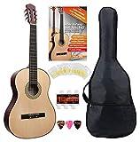 Classic Cantabile AS-851 4/4 Konzertgitarre Starter Set (Komplettes Anfänger Set mit Klassik Gitarre, Gigbag Tasche, Nylonsaiten, Lehrbuch/Schule, 3x Plektren und Stimmpfeife)