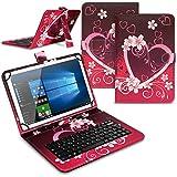 Tablet Hülle kompatibel für LNMBBS P40 10.1 Zoll Tasche Tastatur Keyboard QWERTZ Schutzhülle Cover Standfunktion USB Schutz Case, Farben:Motiv 1