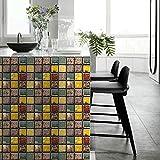 CACAIMAO Selbstklebende Mosaik-Wandaufkleber, wasserdichte Und Ölbeständige PVC-Fliesenaufkleber, Dekorationsaufkleber Für Küchen- Und Badezimmertreppen 10 Stücke 10cm*10cm
